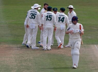 Australia A celebrate wicket of Zak Crawley in their numbered shirts
