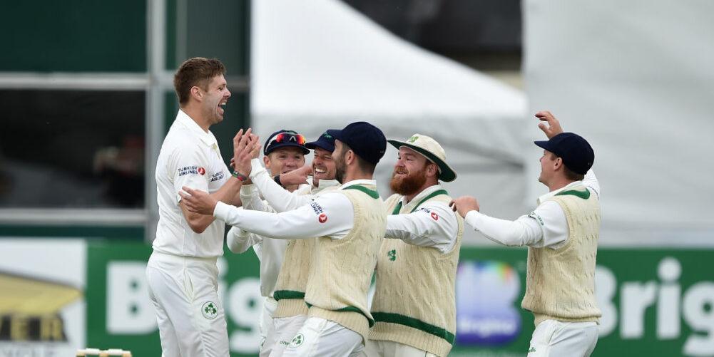 Ireland bowler Boyd Rankin celebrates with team mates after dismissing Pakistan batsman Haris Sohail