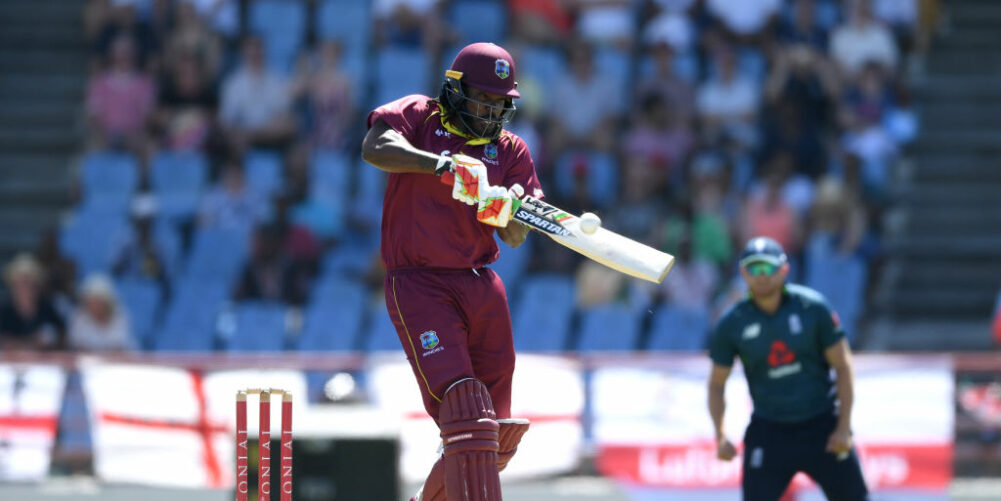 Chris Gayle hitting a six for the West Indies in an ODI against England