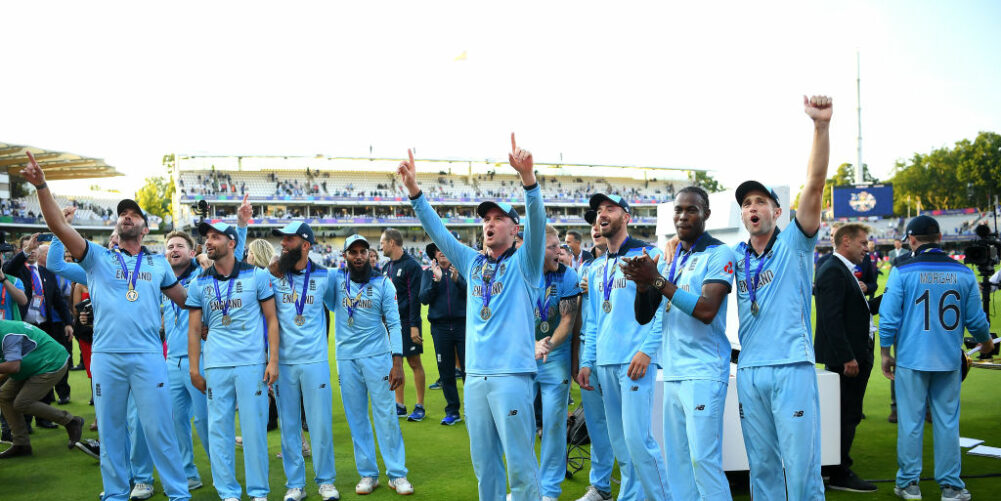 England celebrate winning the Cricket World Cup after beating New Zealand in Super-Over