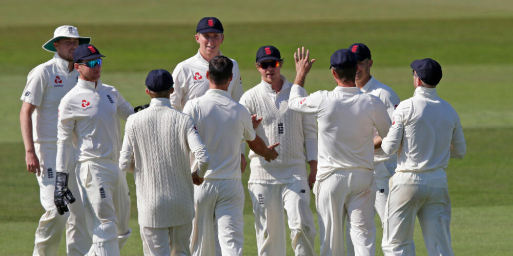 England Lions celebrate taking a wicket against Australia A