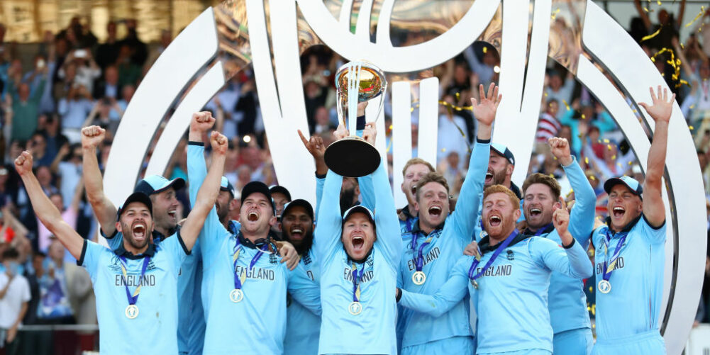 England celebrate lifting their first ever Men's Cricket World Cup Trophy