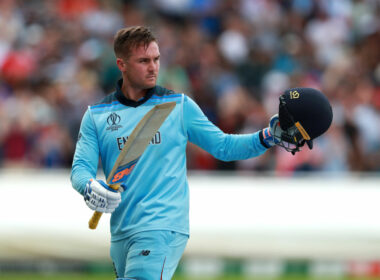Jason Roy acknowledges fans after controversially being given out against Australia during England's World Cup campaign