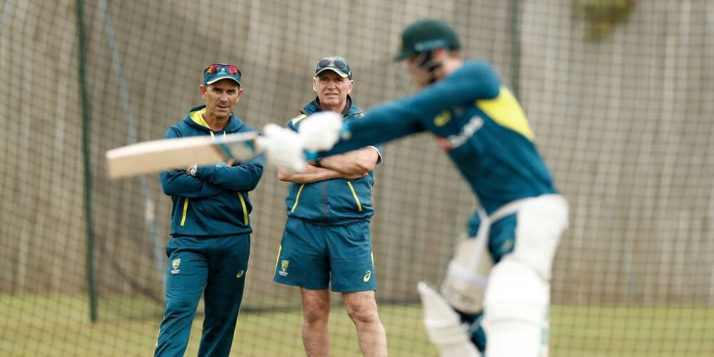 Justin Langer watches on as the Australian team are in the nets