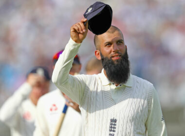 Moeen Ali raises his cap to crowd after picking up 10 wickets in the match during England's Test victory over South Africa