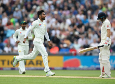 Mohammad Amir celebrates the wicket of Joe Root during his post-ban spell in Test Cricket.