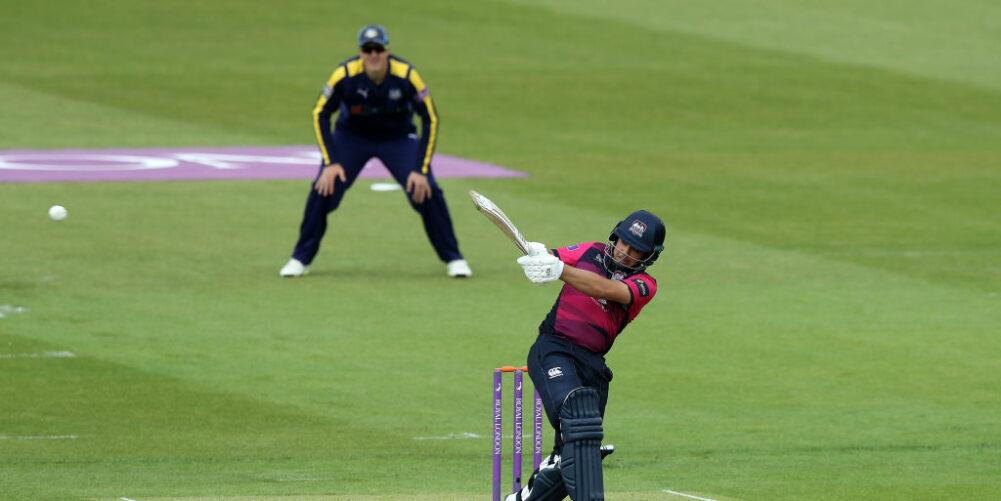 Northamptonshire opener Ricardo Vasconcelos pulling the ball away for four runs
