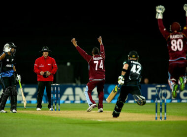 Sunil Narine, in West Indies colours, appeals for an LBW