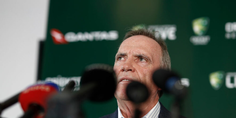 Trevor Hohns addresses the press after annoucing Australia's squad for The Ashes