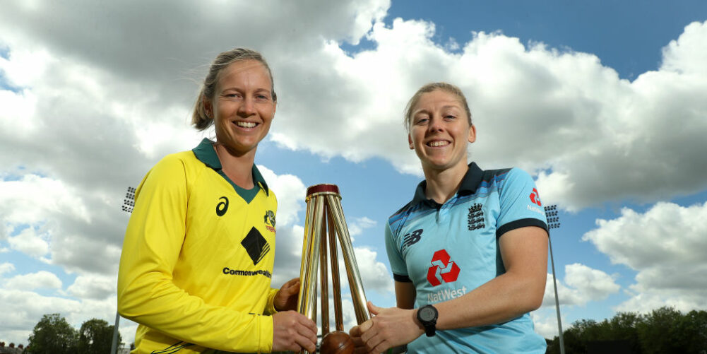 Captains Heather Knight and Meg Lanning both hold the Women's Ashes prior to the series.