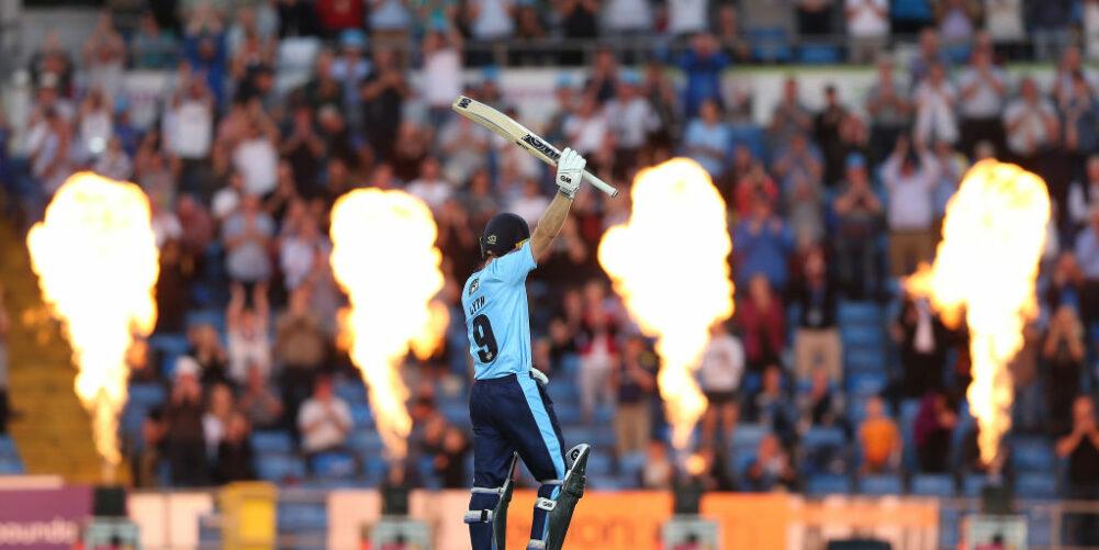 Yorkshire batsman Adam Lyth celebrates milestone in the T20 Blast in front of the Headingley crowd