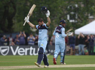 Durham batsman Sean Dickson scores a century against Lancashire